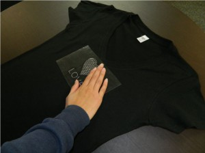 checking temp of shirt
