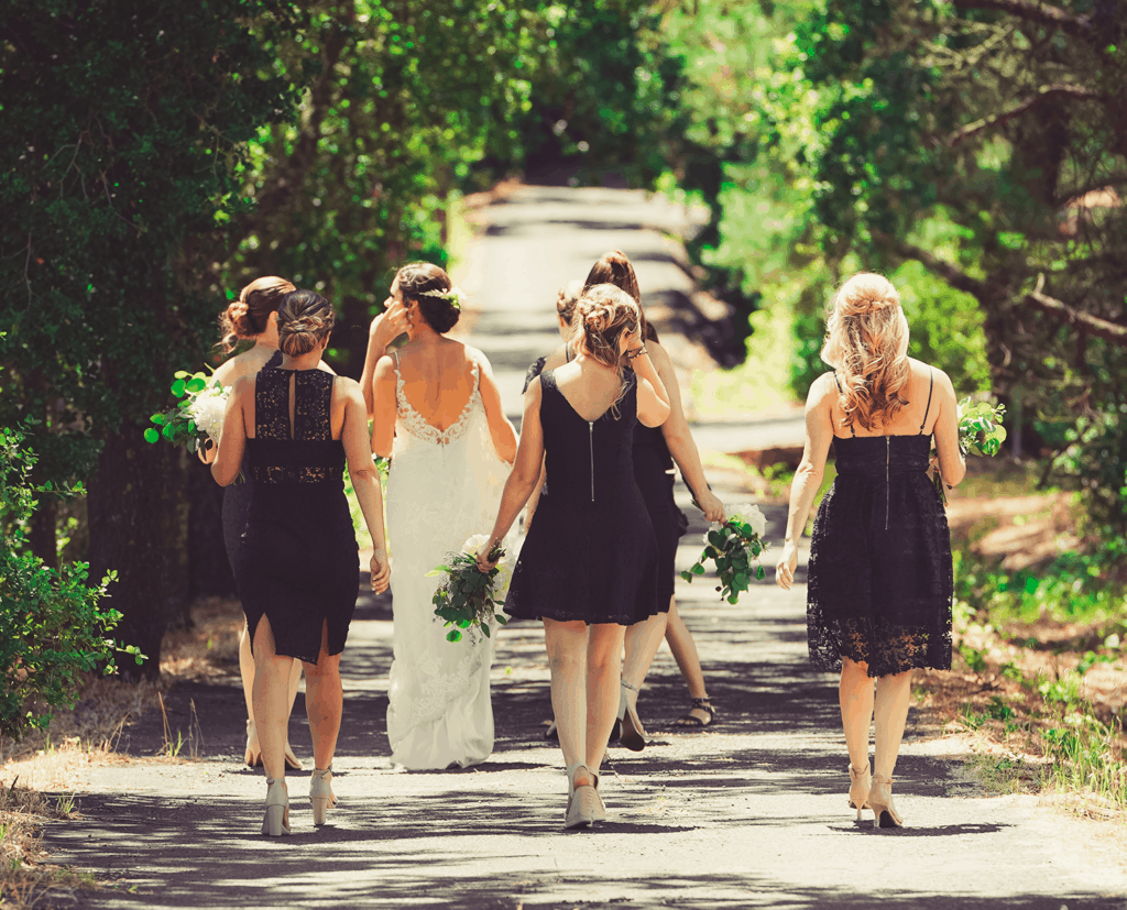 image of bride t-shirts and girls walking