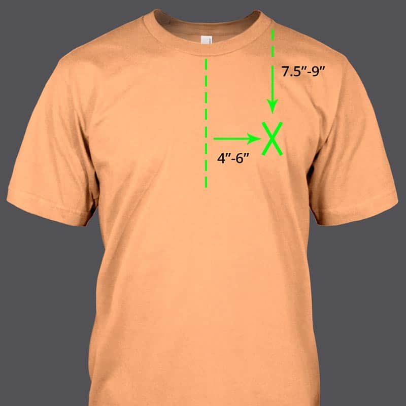 image showing heat transfer placement for embroidery or t-shirt left chest placements