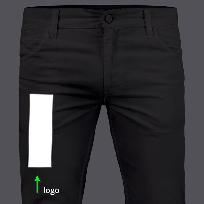 image showing how to place logo on jeans or pants