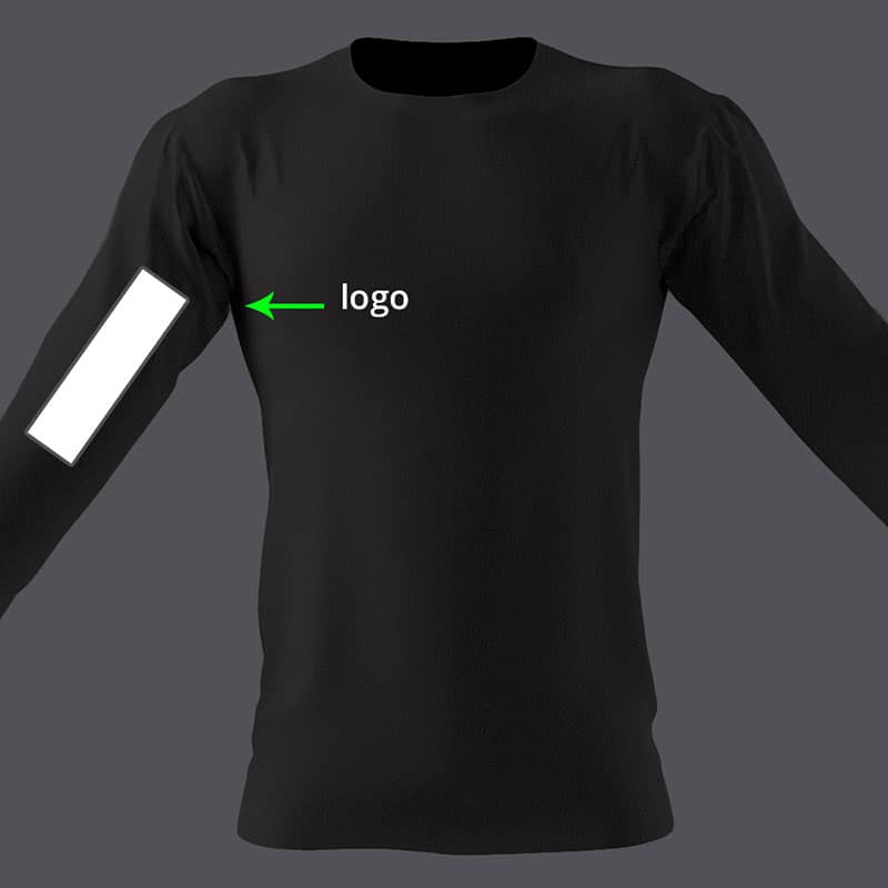 picture of logo placement on long sleeve t-shirts