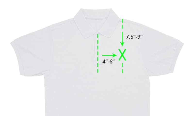 image of youth polo shirt for embroidery placement